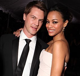 Actress Zoe Saldana engage with actor Keith Britton