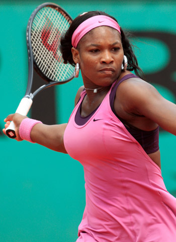 US player Serena Williams hits a forehan