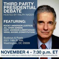 Ralph Nader Hosting Third-Party Presidential Debate Tonight in Washington, D.C.